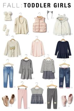 Fall Capsule Wardrobes for Toddlers and Kids - 2016 Fall Toddler Girls Capsule Toddler Girl Fall, Toddler Girl Style, Toddler Girl Outfits, Toddler Fashion, Kids Fashion, Fashion 2016, Fall Capsule Wardrobe, Kids Wardrobe, Little Girl Outfits