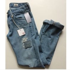 """AG destroyed denim Adriano Goldschmied """"AG-ed Vintage"""" jeans size 24R. These are called the Nikki. Brand new with tags. These jeans have a pre-destroyed look throughout.  Waistband measures 30"""" with a 31"""" inseam. 8"""" rise. 5 pockets. Photos show the bottoms cuffed, but they can be undone.No trades. Poshmark onlyI am very open to fair offers! AG Adriano Goldschmied Jeans"""