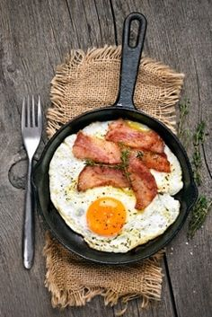Fried Egg and Bacon in a Frying Pan