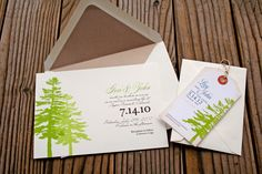 Two Pine Tree Wedding Invitation - Lovely Green Forest with Wrap