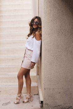 pink leather mini skirt