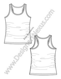 V6 Racerback Tank Knit Fashion Flat Sketch Templates - free download of this Adobe Illustrator fashion flat sketch template + More fashion technical drawing templates at www.designersnexus.com! #flatsketches #tank #fashiondesign #fashiontemplates #vector #fashionsketch