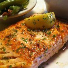 GRILLED SALMON  Texas Roadhouse Copycat Recipe   Salmon:  1 fresh salmon filet  salt and pepper  butter   Lemon Pepper Butter:  1/4 butt... #salmongrill