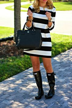 Dress: Forever 21 (not online yet, similar here) | Boots: Hunter Bag: Tory Burch Robinson | Shades: Karen Walker    Subscribe |...