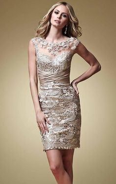 Wholesale Mother's Dresses - Buy Champagne Vintage Lace Mother of the Bride Dresses Above Knee Length Sheath Cap Sleeves Pleat 2015 Short Evening Dress Plus Size, $106.5 | DHgate.com