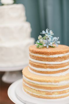 simple and sweet #nakedcake with blue flowers | Jen + Ashley Photography