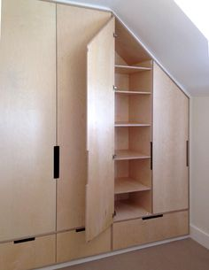 Bespoke plywood wardrobe by Karl Marrow Bedroom Built In Wardrobe, Wardrobe Doors, Wardrobe Closet, Attic Closet, Plywood Storage, Loft Storage, Bedroom Storage, Plywood Interior, Plywood Furniture