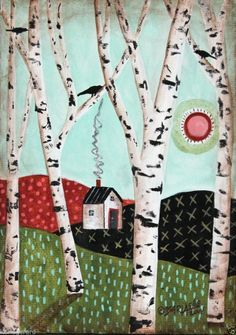 Afternoon 5x7 inches Birds House ORIGINAL Canvas Panel PAINTING FOLK ART Karla G..new, now for sale...