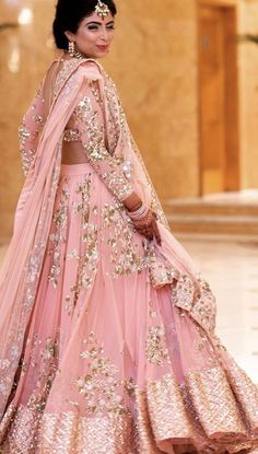 Beautiful pink lehenga ideal for any pre wedding functions Love the blouse Pink Wedding Dresses, Indian Wedding Outfits, Bridal Outfits, Indian Outfits, Bridal Dresses, Indian Engagement Outfit, Designer Bridal Lehenga, Indian Bridal Lehenga, Indian Bridal Fashion