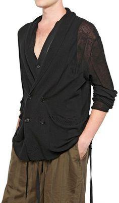 Ann Demeulemeester Cotton Lycra Knit Cardigan in Black for Men - Lyst