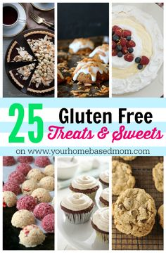 25 Gluten Free Treats & Sweets Desserts Recipes for people with food allergies. A great round up of gluten free treats and sweets! Gluten Free Deserts, Gluten Free Sweets, Gluten Free Cookies, Foods With Gluten, Gluten Free Baking, Dairy Free Recipes, Vegan Gluten Free, Paleo, Keto Cookies