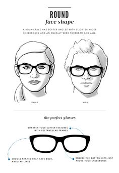 Browse our collection of glasses specifically curated for those with a round face shape. These glasses lengthen, thin, and add angles to the face. Frames For Round Faces, Glasses For Round Faces, Glasses For Your Face Shape, New Glasses, Cat Eye Glasses, Super Glasses, Glasses Guide, Glasses Style, Round Frame