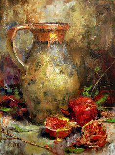 """Daily Paintworks - """"Ancient Pitcher at Thanksgiving"""" - Original Fine Art for Sale - © Julie Ford Oliver Art Painting Gallery, Fine Art Gallery, Arte Van Gogh, Still Life Flowers, Still Life Oil Painting, Fruit Painting, Still Life Art, Art Abstrait, Art Oil"""