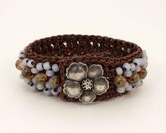 Crochet Cuff Bracelet, Violet Beads and Metal Button, Boho Chic Crochet Bracelet, Thread Crochet, Beaded Bracelet