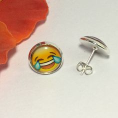 Emoticon stud earrings, silver plated, glass dome, tears of laughter emoji, emoticon earrings, ROFL emoji, teen girl gift, stocking filler by Buttonsheduk on Etsy