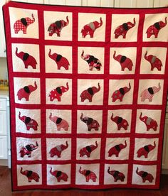 Crimson and White Elephant Quilt Crimson by MoonlightMercantile