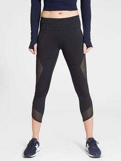 Women's Clothing Zip Pocket Hard-Working Athleta Colorblock Be Free Knicker Capris Xs X-small Black