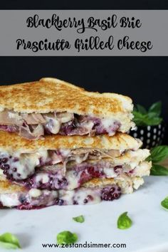 Blackberry Basil Brie Prosciutto Grilled Cheese – Taking the classic up a notch! Fresh blackberries smashed with basil, creamy brie and salty prosciutto come together for a fabulous sweet & savory grilled cheese sandwich. Brie Sandwich, Grilled Sandwich Recipe, Grilled Cheese Recipes, Sandwich Recipes, Grilled Cheeses, Steak Sandwiches, Best Grilled Cheese, Gourmet Recipes, Winter Chic
