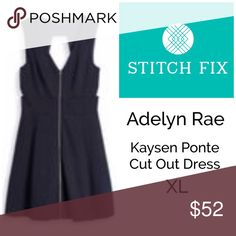 Coming! Adelyn Rae • Stitch Fix Kaysen Ponte NWT Adelyn Rae • Stitch Fix Kaysen Ponte Cut Out Dress Navy Blue, Lined, Cut Out Back with Zipper Front, A-Line (Size XL) Great Career Staple Item. Grab a Jacket or Sweater and Go... Great for all Seasons Adelyn Rae Dresses