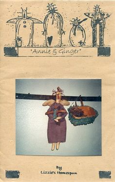 FREE US SHIP Lizzie's Home Spun Primitive Folk Art Doll Annie and Ginger Basket Old Store Stock Sewing Pattern Ragdoll cloth by LanetzLivingPatterns on Etsy
