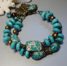 Charm Bracelet with Natural Turguoise, Magnesite and Brown Freshwater Pearl