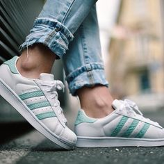 Awesome mint and white Adidas Superstar.