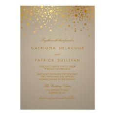 Gold Foil Confetti Dots Modern Wedding Invitation