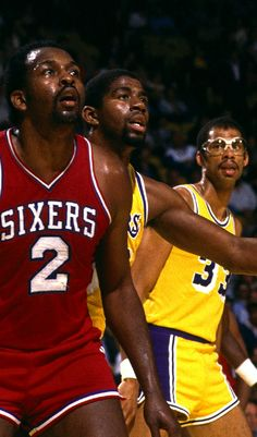 Moses Malone, Magic Johnson & Kareem Abdul-Jabbar