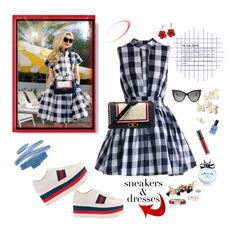 """""""Sneakers and dresses"""" by deborah-518 ❤ liked on Polyvore featuring Stop Staring!, Gucci, Tom Ford, Chicwish, Chanel, Stila, Lauren B. Beauty, Kate Spade, Hermès and J.Crew"""