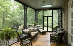 Screened porch with Iron and Cypress