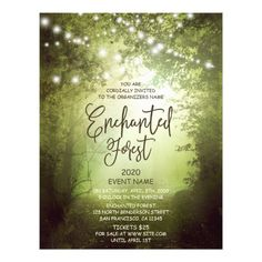 enchanted forest event flyer with string lights