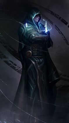 Jace Beleren, the architect of glowing blue stuff by theDURRRRIAN sorcerer wizard warlock spell robes necromancer armor clothes clothing fashion player character npc | Create your own roleplaying game material w/ RPG Bard: http://www.rpgbard.com | Writing inspiration for Dungeons and Dragons DND D&D Pathfinder PFRPG Warhammer 40k Star Wars Shadowrun Call of Cthulhu Lord of the Rings LoTR + d20 fantasy science fiction scifi horror design | Not Trusty Sword art: click artwork for source