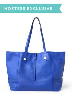 Just picked up this bag this week - love it! Beautiful buttery leather and a gorgeous blue tone. // Stella & Dot Paris Market Tote - Cobalt Blue Leather Tote Bag