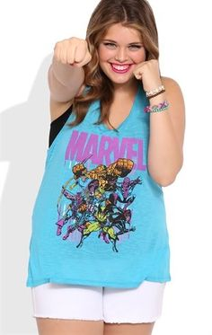 ❤️Plus Size Racerback Tank Top with Marvel Screen $16.50