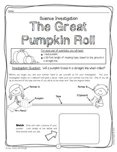 "The Great Pumpkin Roll: Sample science investigation/student recording sheet from ""Halloween Science."" (5 Frightfully Fun Investigations, $)"