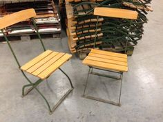 Vintage French Folding Beer Garden Chairs 587