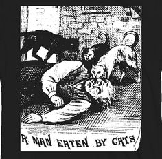 MAN EATEN by CATS shirt 18th century weird etching occult witch house current 93 surreal horror on Etsy, £12.09