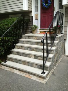 Pro Tip: Precast concrete is a porous material that is susceptible to staining. It is best to avoid bringing paint, marker pen, oil based products, acids of all type, salts and any other material likely to stain near your precast steps. Painted Concrete Steps, Concrete Front Steps, Brick Steps, Concrete Porch, Concrete Stairs, Precast Concrete, Stone Steps, Patio Steps, Outdoor Steps