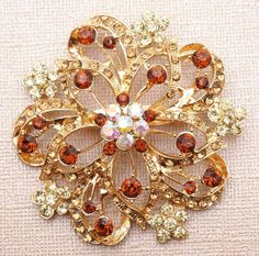 Vintage style Sparkling  Amber yellow Topaz Brooch by rosecarmen