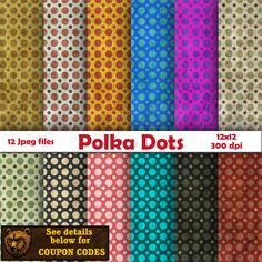 A personal favorite from my Etsy shop https://www.etsy.com/listing/499602602/polka-dots-digital-paper-scrapbook-paper