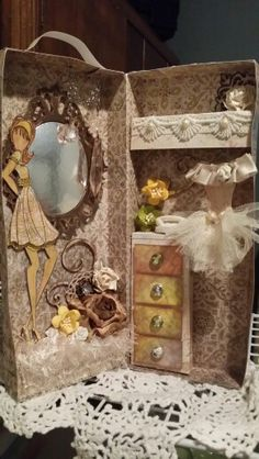 "My doll's closet! Using Julie Nutting's Mixed Media Dolls, Bona's doll box idea; 1 sheet of the new Tim Holtz ""Wallflower"" paper."