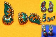 Colourful combos of terracotta earrings.