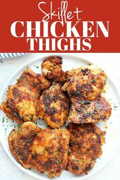 These Skillet Chicken Thighs are the best, pan-seared boneless skinless chicken thighs ever! This stove-top cooking method is simple to follow, even for beginners. #chicken #chickenthighs #dinnerrecipes