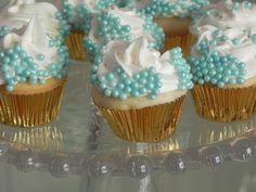 Rolled aqua mini cupcakes