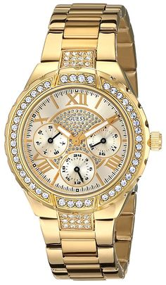 Guess Watch for Women GUESS Women's Sparkling Hi-Energy Mid-Size Gold-Tone Watch — See this great product. (This is an affiliate link) Discovred by : Wristwatch Fine Watches, Cool Watches, Rolex Watches, Watches For Men, Guess Watches, Rolex Women, Thing 1, Beautiful Watches, Watch Brands