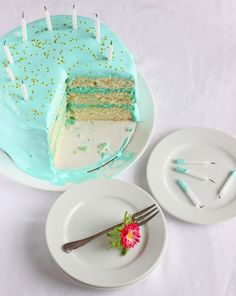 Tiffany Blue Birthday Cake - to get the beautiful Tiffany blue color frosting, the blogger states in the comments section that she used Americolor gel food coloring with a 1 to 3 ratio of sky blue to turquoise. If using butter in your frosting, bear in mind that it will impact the color.