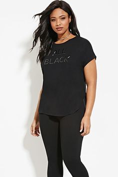 Plus Size All Black Graphic Tee   Forever 21 PLUS - 2000169600