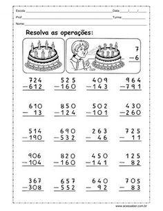 atividade de soma e subtração com reserva