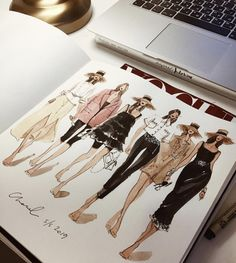 New ideas for fashion portfolio book ideas drawings Fashion Design Sketchbook, Fashion Design Drawings, Fashion Sketches, Fashion Illustration Face, Fashion Illustrations, Moda Fashion, Fashion Art, Artist Fashion, Trendy Fashion