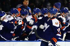 #Isles forward Brock Nelson celebrates a second period goal against the New York Rangers. The Isles lost 2–1.